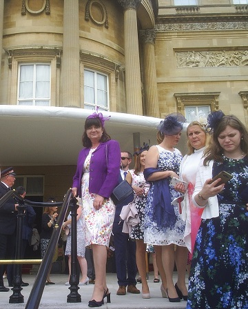 Picture of Alison Houlbrooke on the terrace at Buckingham Palace